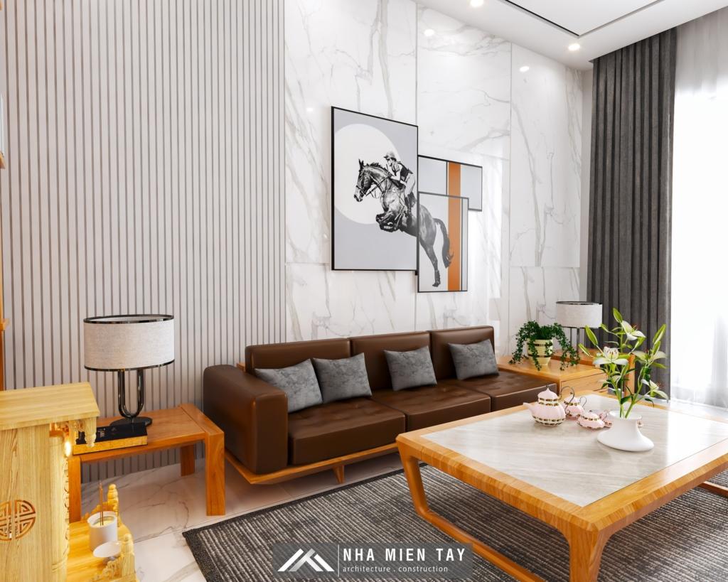 Phòng khách nahf phố hiện đại 3 tầng